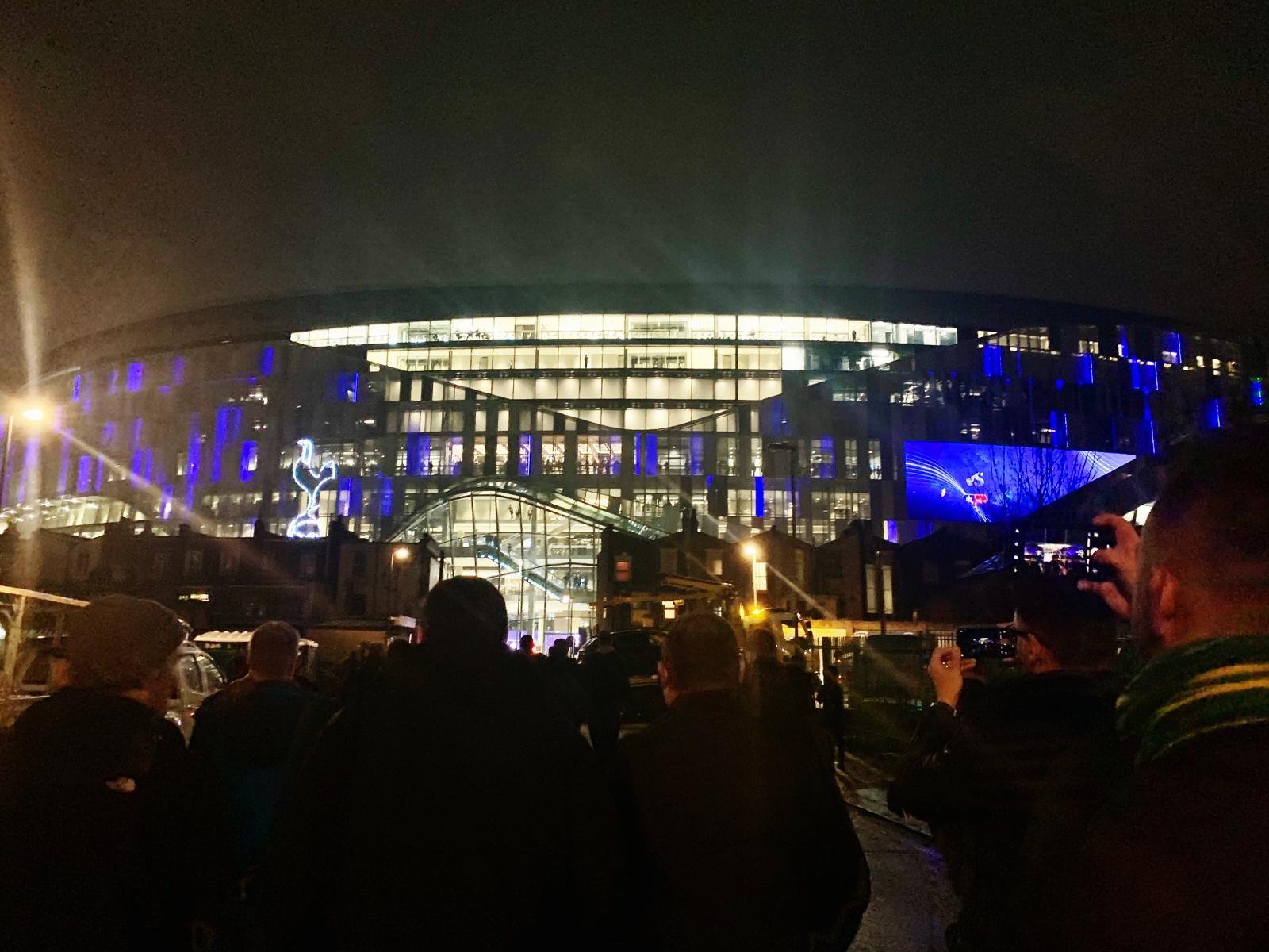 Night view of Tottenham Stadium