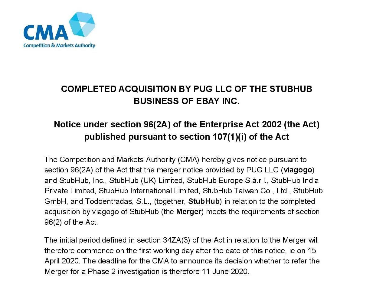CMA notice regarding Stubhub and Viagogo merger