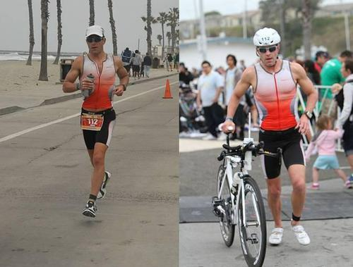 Greg Penner competing in a Ironman competiton running and cycling