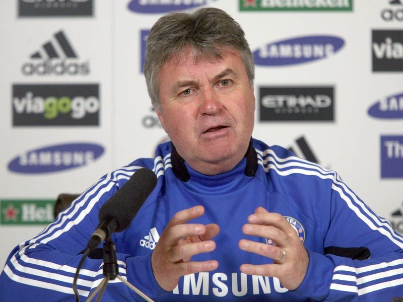 Ex Chelsea manager Guus Hiddink giving press conference in front of Viagogo logos