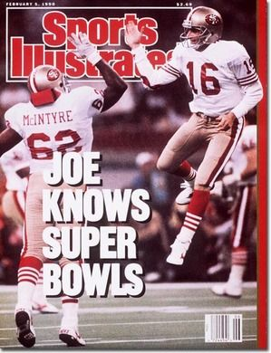 Sports Illustrated cover with Montana and McIntyre high-fiving