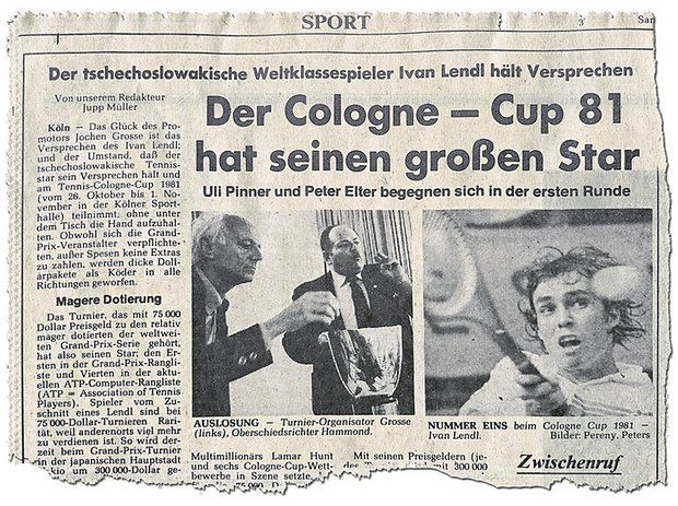 Newspaper clipping, Ivan Lendl Cologne
