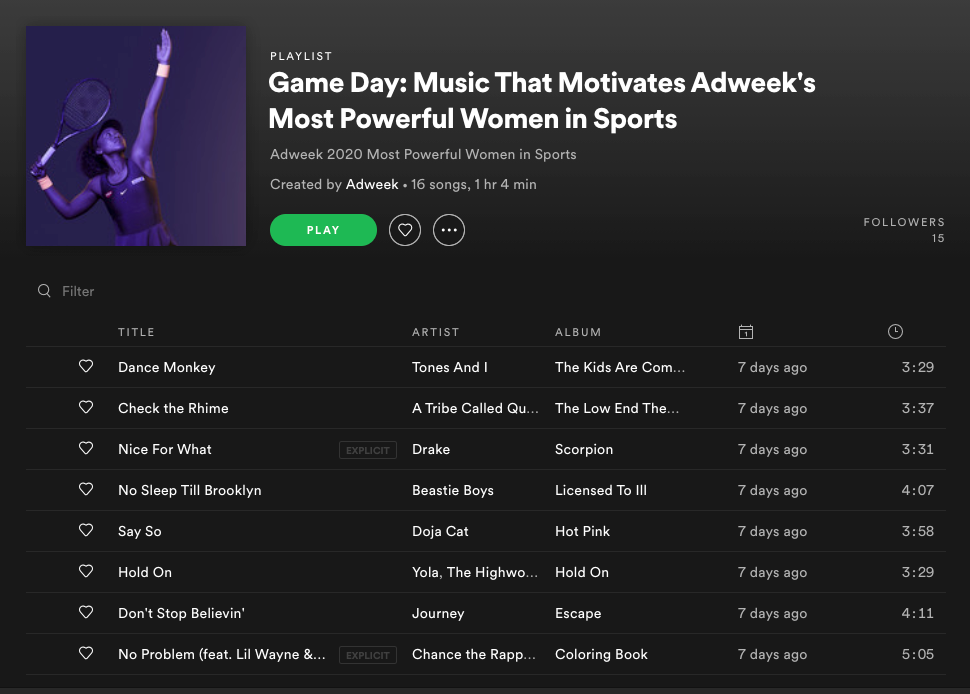 We have the Spotify playlist of Adweek's 'Most Powerful Women in Sport'